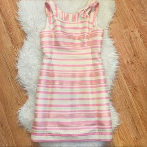 Lilly Pulitzer Elias Gold Pink Bow Shift Dress 2